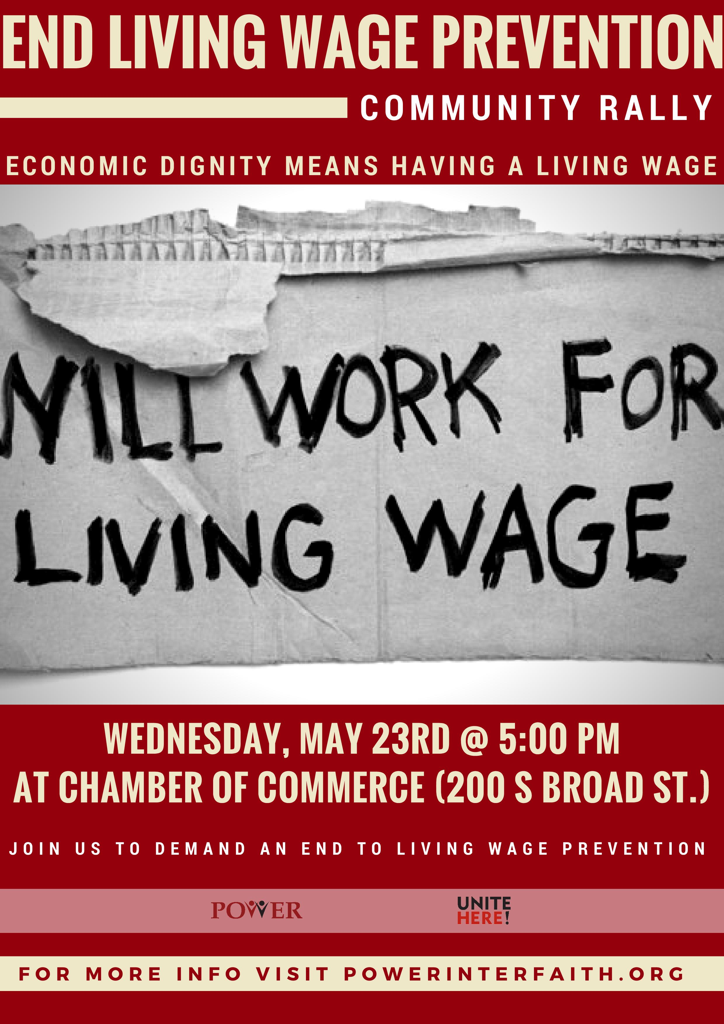 End Living Wage Prevention Rally—May 23, Philadelphia – Ministry of